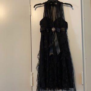 Betsy & Adam | Black lace A-line dress